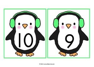Cijferkaartjes Pinguïn zwart JPG