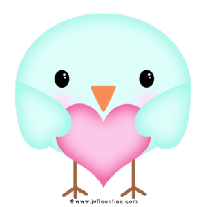 Bird glow colour holding heart
