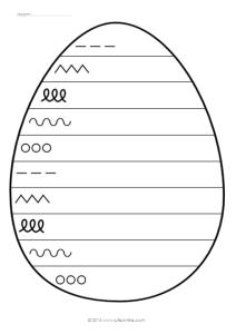 Ei met schrijflijnen