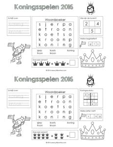 Koningsspelen placemat 2016